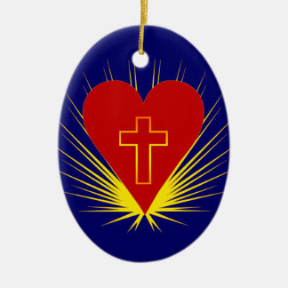 Brilliant Heart with Cross Oval Ornament