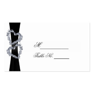 Brilliant Hearts: Black Ribbon and Diam Place Card Business Cards