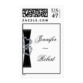 Brilliant Hearts: Black Ribbon and Diamond Hearts Postage Stamp