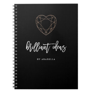 Brilliant Ideas | Black with Heart Shaped Jewel Notebook