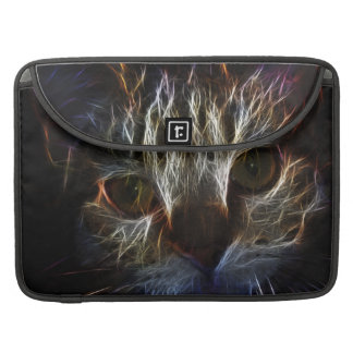 Brilliant Kitty Cat Shiny Fire Fractal Art Sleeves For MacBooks
