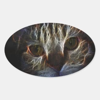 Brilliant Kitty Cat Shiny Fire Fractal Art Oval Sticker