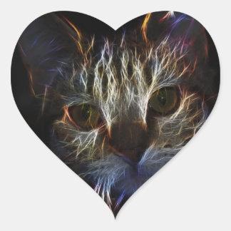 Brilliant Kitty Cat Shiny Fire Fractal Art Heart Sticker