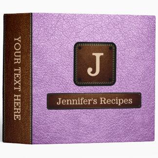 Brilliant Lavender Elegant Recipe Leather Look Binders