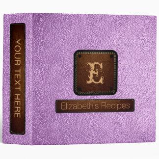 Brilliant Lavender Leather Elegant Monogram 3 Ring Binder
