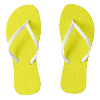 Brilliant Lemon Yellow Sunshine Stars Pattern Flip Flops