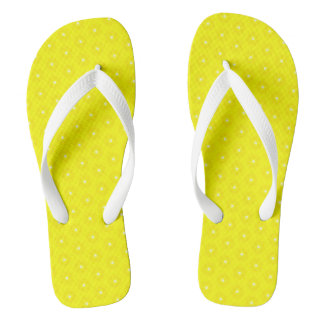 Brilliant Lemon Yellow Sunshine Stars Pattern Flip Flops