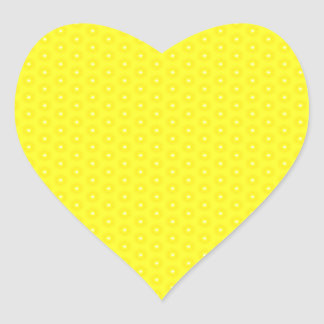 Brilliant Lemon Yellow Sunshine Stars Pattern Heart Sticker
