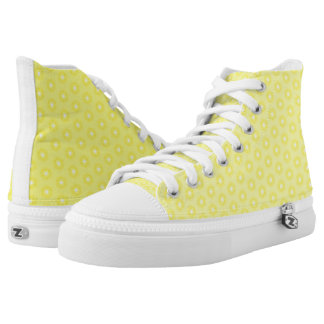 Brilliant Lemon Yellow Sunshine Stars Pattern High-Top Sneakers