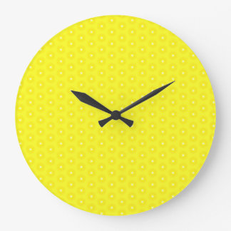 Brilliant Lemon Yellow Sunshine Stars Pattern Large Clock