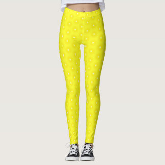 Brilliant Lemon Yellow Sunshine Stars Pattern Leggings