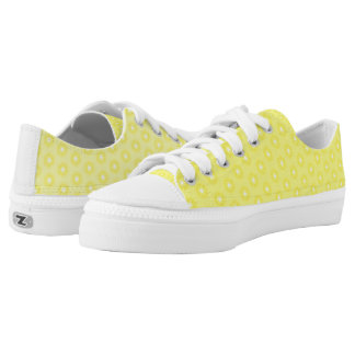Brilliant Lemon Yellow Sunshine Stars Pattern Low-Top Sneakers