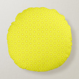 Brilliant Lemon Yellow Sunshine Stars Pattern Round Pillow