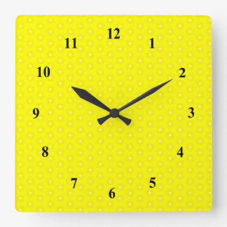 Brilliant Lemon Yellow Sunshine Stars Pattern Square Wall Clock