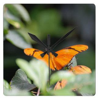 Brilliant Orange Butterfly Square Wall Clocks