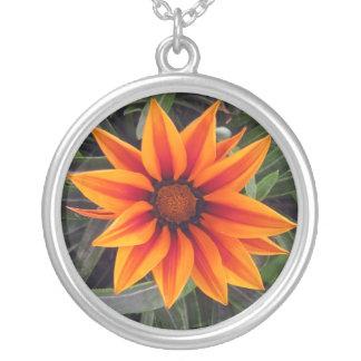 Brilliant Orange Daisy Round Pendant Necklace