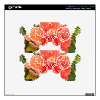 Brilliant Orange Hibiscus Decal For PS3 Controller
