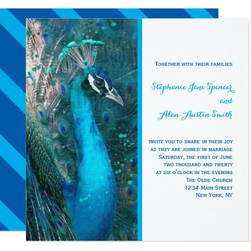 Brilliant Peacock Blue Wedding Invitation