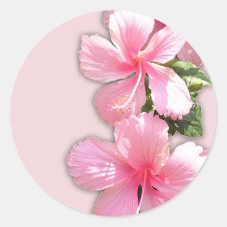Brilliant Pink Hawaiian Hibiscus Flowers Classic Round Sticker