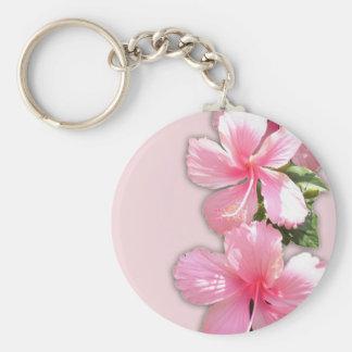 Brilliant Pink Hibiscus Flowers Basic Round Button Keychain
