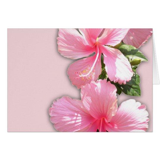Brilliant Pink Hibiscus Flowers Card