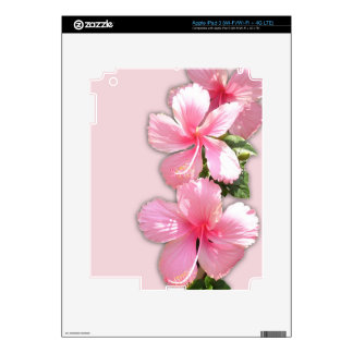 Brilliant Pink Hibiscus Flowers Decal For iPad 3