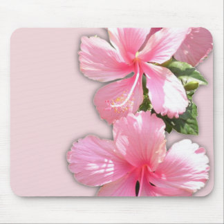 Brilliant Pink Hibiscus Flowers Mouse Pad