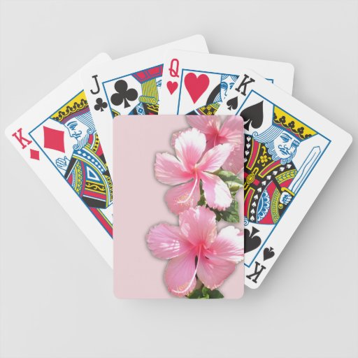 Brilliant Pink Hibiscus Flowers Playing Cards