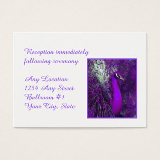 Brilliant Purple Peacock Wedding Reception Business Card