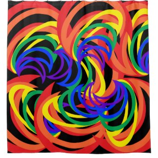 Brilliant Rainbow Crescent Abstract Shower Curtain