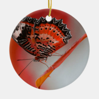 Brilliant Red and Black Butterfly Ceramic Ornament