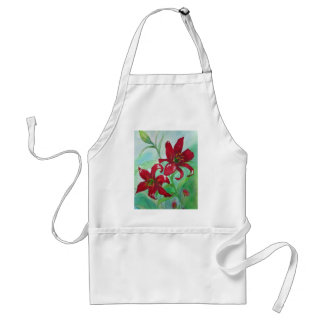 Brilliant Red Fine Art Watercolor Flowers Lindsey Adult Apron