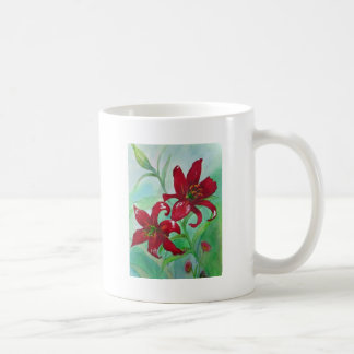 Brilliant Red Fine Art Watercolor Flowers Lindsey Coffee Mug