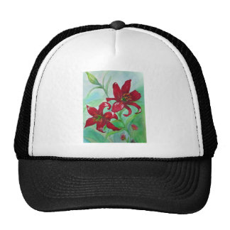 Brilliant Red Fine Art Watercolor Flowers Lindsey Trucker Hat
