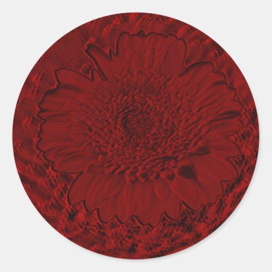 Brilliant Red Flower Classic Round Sticker
