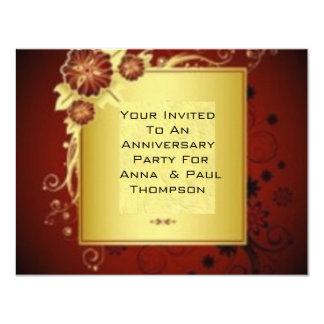 "Brilliant Red Flowers Wedding Anniversary Invite 4.25"" X 5.5"" Invitation Card"