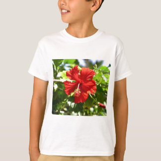 Brilliant Red Hawaiian Hibiscus Flower T-Shirt