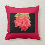 Brilliant Red Hibiscus Flower Pillow