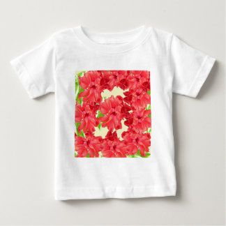 Brilliant Red Hibiscus Flowers Baby T-Shirt