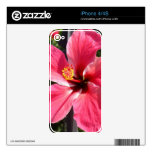 Brilliant Red Hibiscus Photo Decal For iPhone 4S