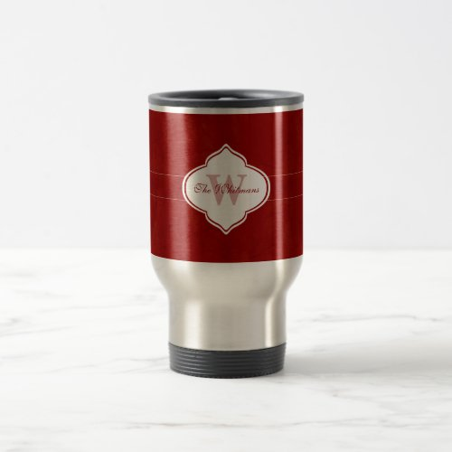 Brilliant Red Monogram Travel Mug