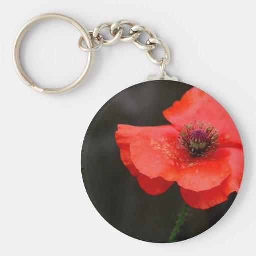 Brilliant Red Poppy Basic Round Button Keychain