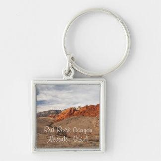 Brilliant Red Rocks; Nevada Souvenir Silver-Colored Square Keychain