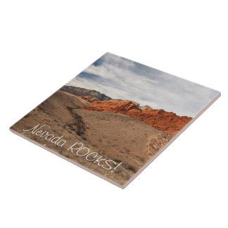Brilliant Red Rocks; Nevada Souvenir Large Square Tile