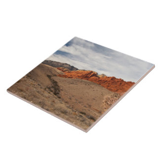 Brilliant Red Rocks; No Text Large Square Tile