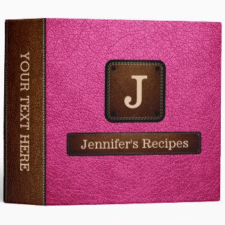 Brilliant Rose Elegant Recipe Leather Look 3 Ring Binder