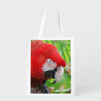 Brilliant Scarlet Macaw Grocery Bag