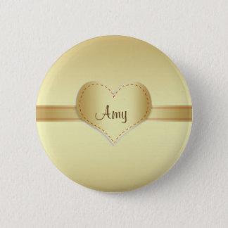 Brilliant shiny gold pinback button