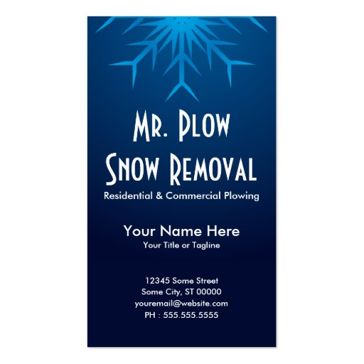 brilliant snowflake snow removal business card templates