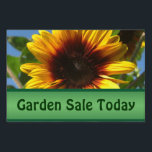 "Brilliant Sunflower Garden Sale Custom Yard Sign<br><div class=""desc"">A customizable yard sign for your event or sale.  Green banner to add your text to advertise.  A bright,  colorful sign to catch the eye.  Options for front and back.  Closeup photograph of a brilliant yellow sunflower with a dark center.</div>"